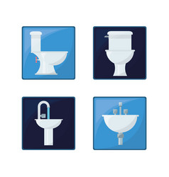 Flat set icon bathroom design vector
