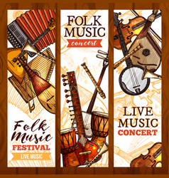 folk music banner with ethnic musical instrument vector image