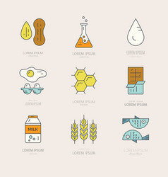 food allergens icons vector image