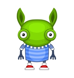 Funny cartoon green alien vector