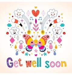 Get well soon greeting card vector