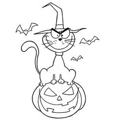 Halloween cat cartoon vector image vector image