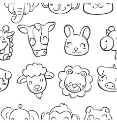 hand draw of animal head doodles vector image vector image