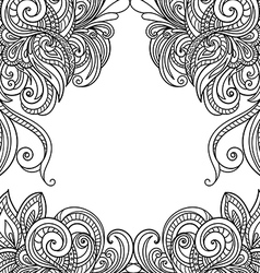 Hand-drawn floral frame vector