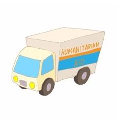 Humanitarian aid car icon cartoon style vector