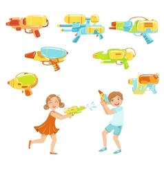 Kids playing with water pistols and assortment of vector