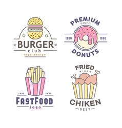 linear flat fast food badge banner or logo emblem vector image vector image