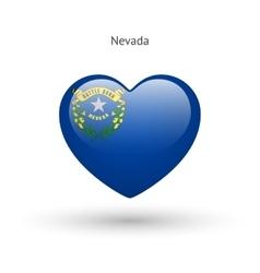 Love nevada state symbol heart flag icon vector