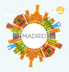 Madrid skyline with color buildings blue sky and vector
