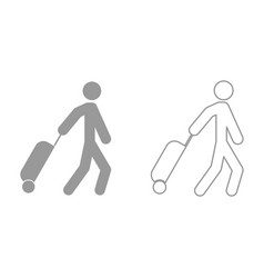 man with suitcase it is black icon vector image vector image