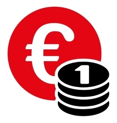 One euro coin stack icon vector
