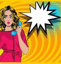 Pop art cartoon woman talk hold hand retro phone vector