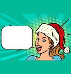 positive santa girl vector image vector image