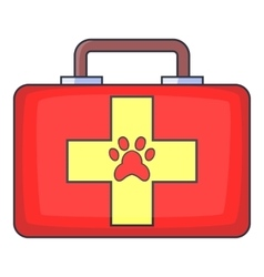 Red pet first aid kit icon cartoon style vector