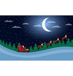 Santa Claus is flying in a sleigh with reindeer vector image