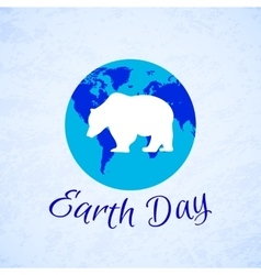 Silhouette of a bear over planet earth earth day vector