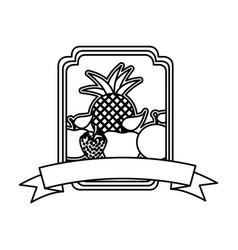 Silhouette rectangle decorative heraldic frame vector