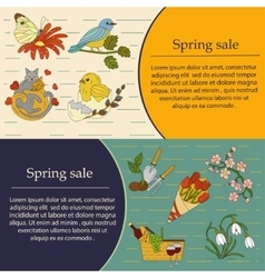 Spring thin line card set vector