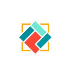 square shape geometry logo vector image
