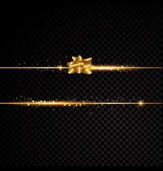 two golden lines with bow and light effects vector image vector image
