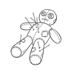 voodoo doll coloring book vector image