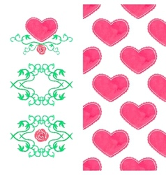Watercolor set seamless heart pattern and wreaths vector image