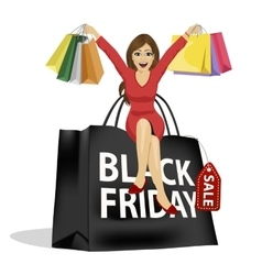 woman sitting on big black friday shopping bag vector image