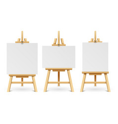 wood easels or painting art boards with white vector image