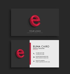 Clean dark business card with letter e vector