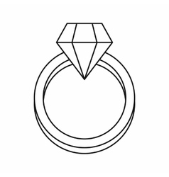 Diamond engagement ring icon outline style vector