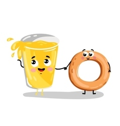 Funny bagel and lemonade glass cartoon character vector
