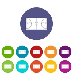Basketball field set icons vector