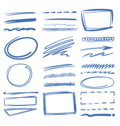 doodle highlighter elements sketch circles vector image