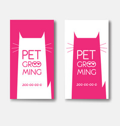 Logo for pet grooming salon with cat silhouette vector