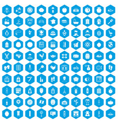 100 beauty product icons set blue vector