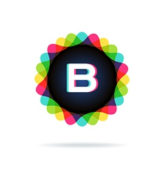 Retro bright colors logotype letter b vector