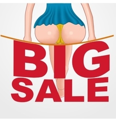 Sexy woman sitting on a big sale text vector