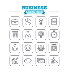 Business linear icons set thin outline signs vector
