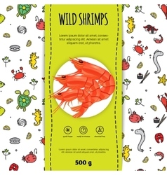 Seafood packaging design vector