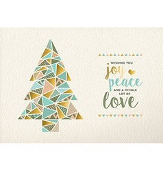 Merry christmas new year triangle tree gold retro vector