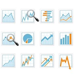 Statistics and analytics data icons with diagrams vector