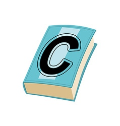 Letter c on cover of retro books concept of vector