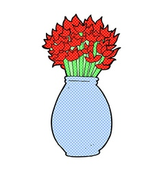 Comic cartoon vase of flowers vector