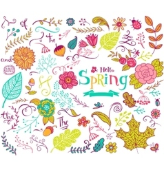 Floral spring design elements in doodle style vector