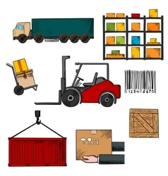 Delivery shipping and freight objects vector