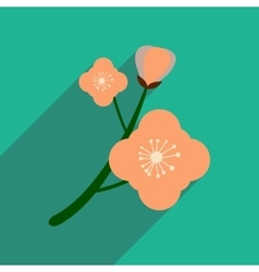 Flat icon with long shadow branch in bloom vector