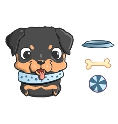 Cute cartoon rottweiler puppy vector