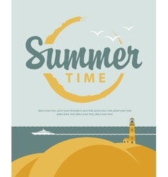 banner summer time with sea vector image vector image