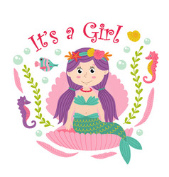 card with mermaid sits in the seashell vector image vector image