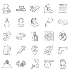 children store icons set outline style vector image vector image